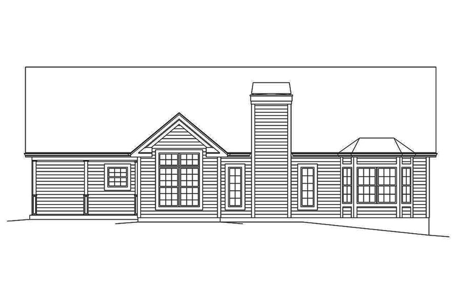 Home Plan Rear Elevation of this 3-Bedroom,1820 Sq Ft Plan -138-1350