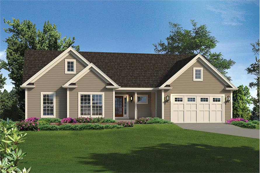 3-Bedroom, 1820 Sq Ft Country Home Plan - 138-1350 - Main Exterior
