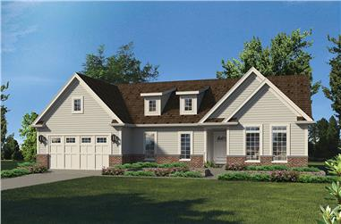 3-Bedroom, 1624 Sq Ft Country House Plan - 138-1353 - Front Exterior