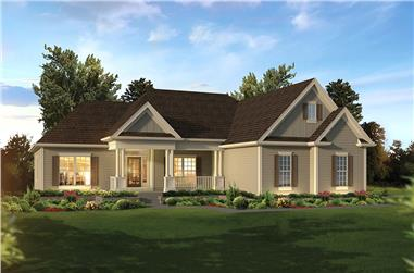 3-Bedroom, 1863 Sq Ft Country House Plan - 138-1354 - Front Exterior