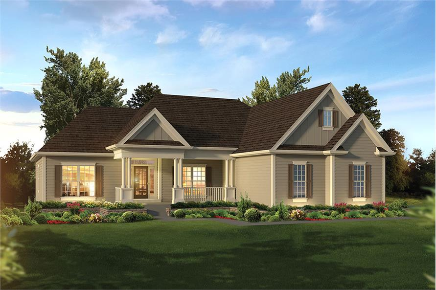 3 bedrm 1863 sq ft country house plan 138 1354 for Colonial ranch house plans