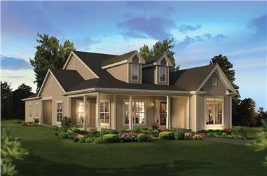 3-Bedroom, 2035 Sq Ft Country House Plan - 138-1355 - Front Exterior