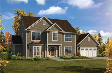 4-Bedroom, 2609 Sq Ft Country House Plan - 138-1356 - Front Exterior