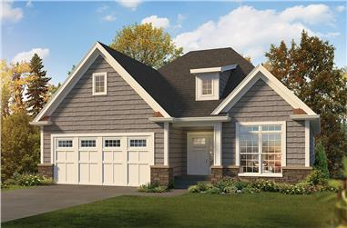 2-Bedroom, 1615 Sq Ft Country Home Plan - 138-1362 - Main Exterior