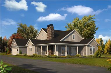 3-Bedroom, 1649 Sq Ft Country House Plan - 138-1365 - Front Exterior