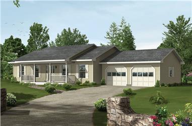 3-Bedroom, 1344 Sq Ft Ranch Home Plan - 138-1372 - Main Exterior