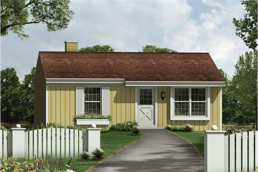 3-Bedroom, 768 Sq Ft Country House Plan - 138-1383 - Front Exterior