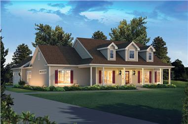 Front elevation of Country home (ThePlanCollection: House Plan #138-1407)