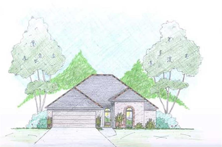 Traditional Home Plans Color Rendering.