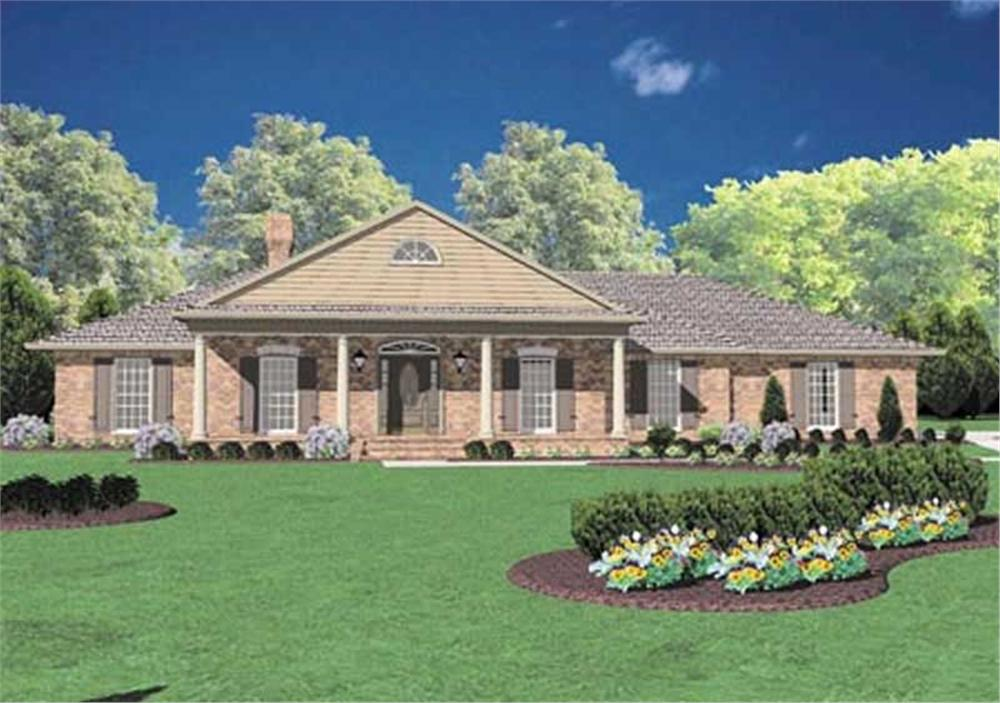 Front elevation of Colonial home (ThePlanCollection: House Plan #139-1033)