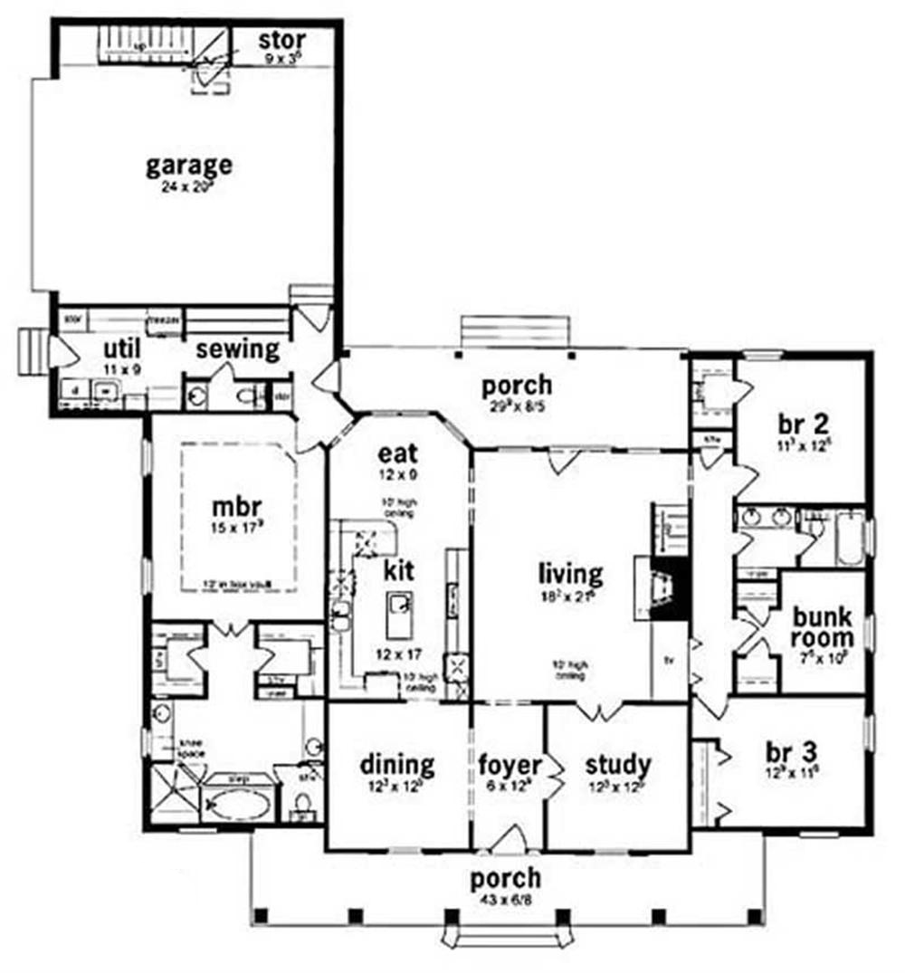 Southern colonial house plans home design kirksey 7956 for Southern colonial house plans