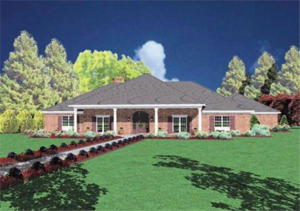 Front elevation of Ranch home (ThePlanCollection: House Plan #139-1036)