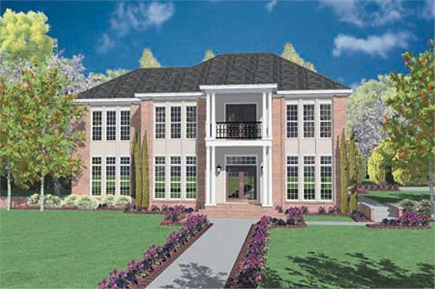 4-Bedroom, 3366 Sq Ft Colonial Home Plan - 139-1046 - Main Exterior