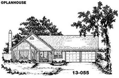 3-Bedroom, 1363 Sq Ft Ranch Home Plan - 139-1051 - Main Exterior