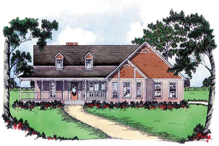 3-Bedroom, 2103 Sq Ft Country House Plan - 139-1056 - Front Exterior