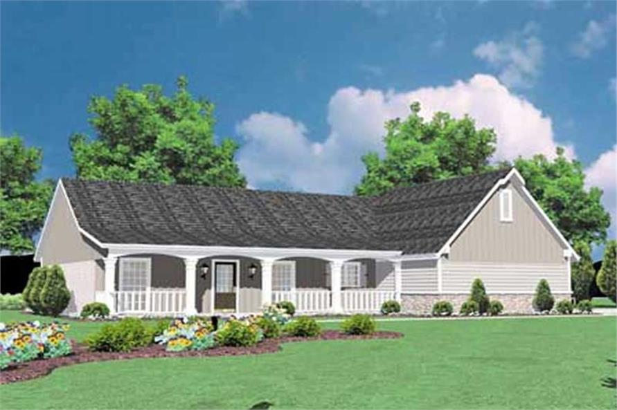 3-Bedroom, 1423 Sq Ft Country Home Plan - 139-1087 - Main Exterior