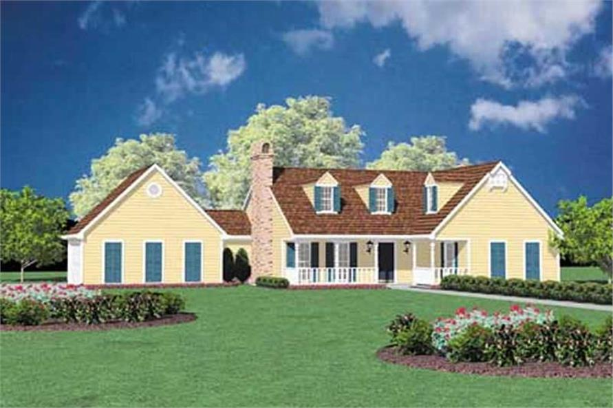 3-Bedroom, 1343 Sq Ft Country Home Plan - 139-1098 - Main Exterior
