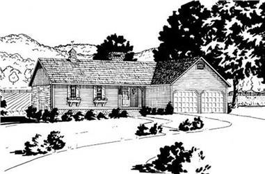 3-Bedroom, 1346 Sq Ft Ranch Home Plan - 139-1099 - Main Exterior