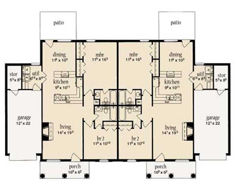 Multi unit house plans home design la lande 9643 for Multi unit home plans