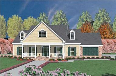 3-Bedroom, 2211 Sq Ft Country House Plan - 139-1196 - Front Exterior