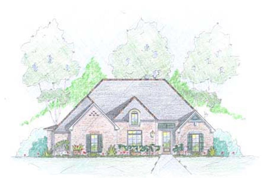 European House Plans Colored Front Elevation.