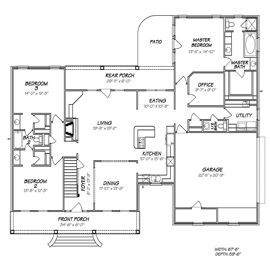 Country house plans home design 2066 for 1000 sq ft house plans first floor