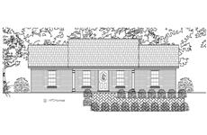 This is the front elevation of these Country Ranch Home Plans.