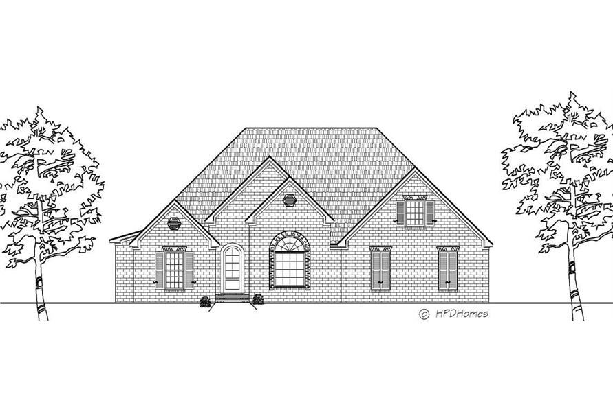 This is a black and white rendering of these Traditional House Plans.