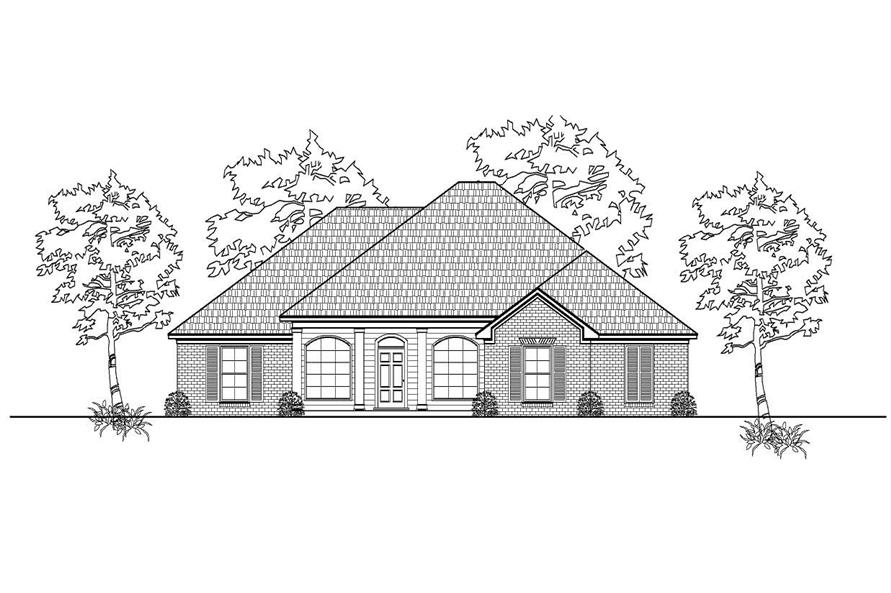This is a black and white front elevation of these Traditional Home Plans