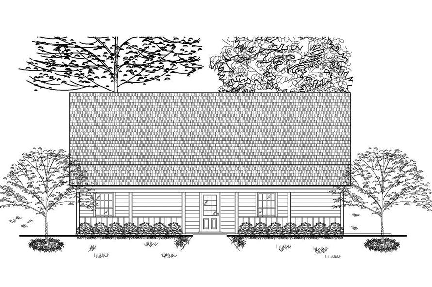 This is a black and white rendering of these Ranch House Plans,