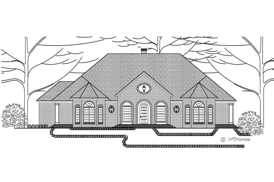This black and white image shows the front elevation of these European Home Plans.