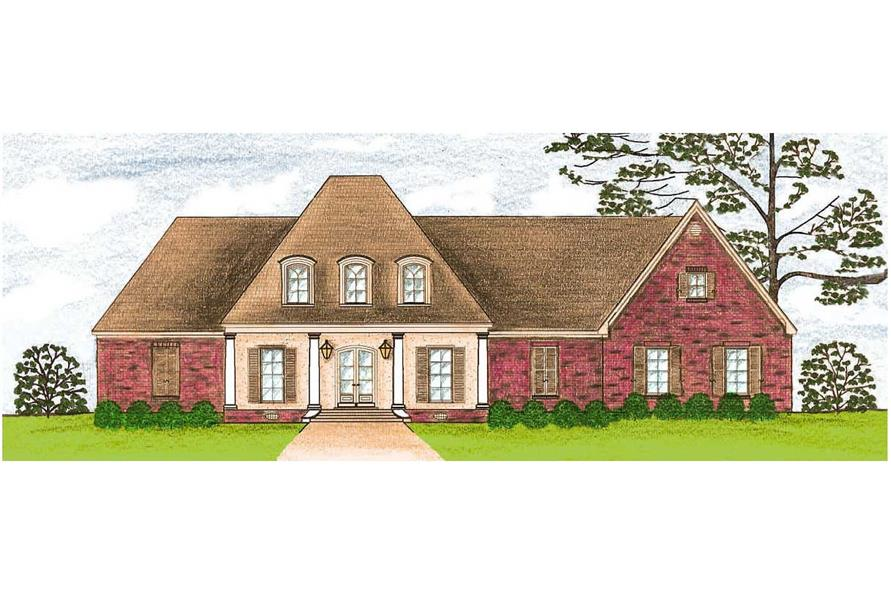 This is a colored rendering of these French House Plans.