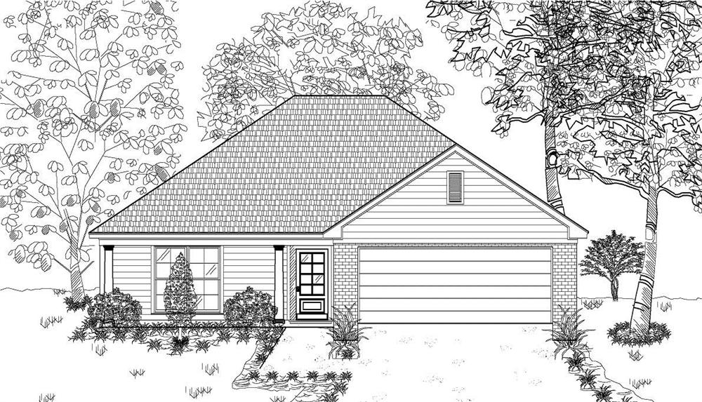 This is the black and white front elevation for these Small House Plans.
