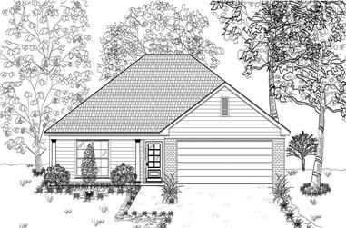 3-Bedroom, 1404 Sq Ft Bungalow House Plan - 140-1022 - Front Exterior