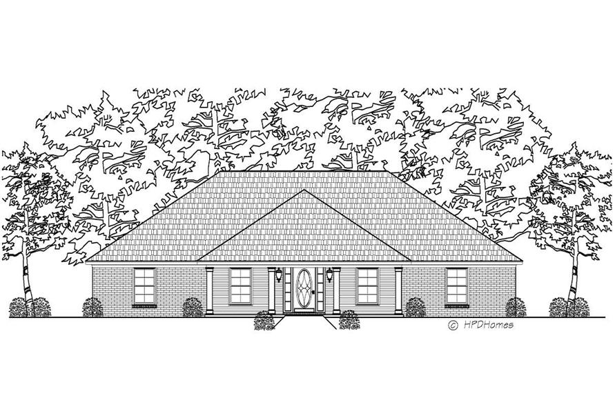 This is a black and white elevation of these Country Houseplans.