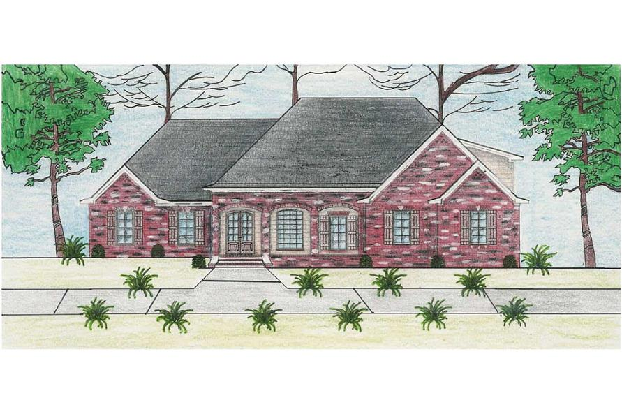 This is a colored rendering of these European Home Plans