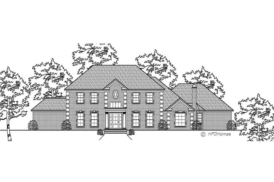This is the black and white front elevation of these Luxury Homeplans.
