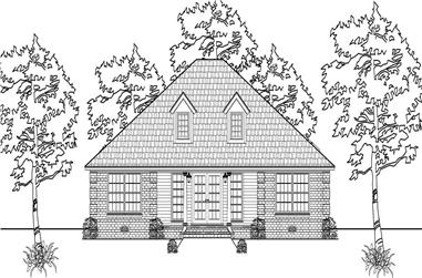 This is a black and white front elevation of these Transitional House Plans.