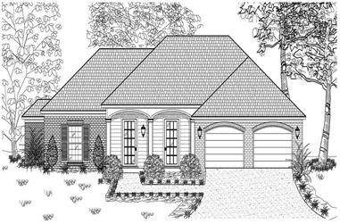 This is a black and white front elevation rendering for these Small House Plans.