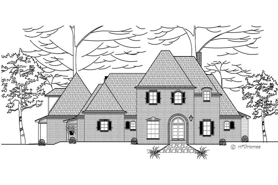This is is a black and white front elevation of these European House Plans.