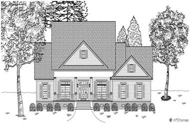 3-Bedroom, 2494 Sq Ft Country House Plan - 140-1044 - Front Exterior