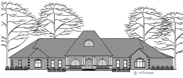 This image shows the front elevation of these Luxury Houseplans.
