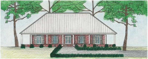 This image shows the front elevation of these Country Houseplans.