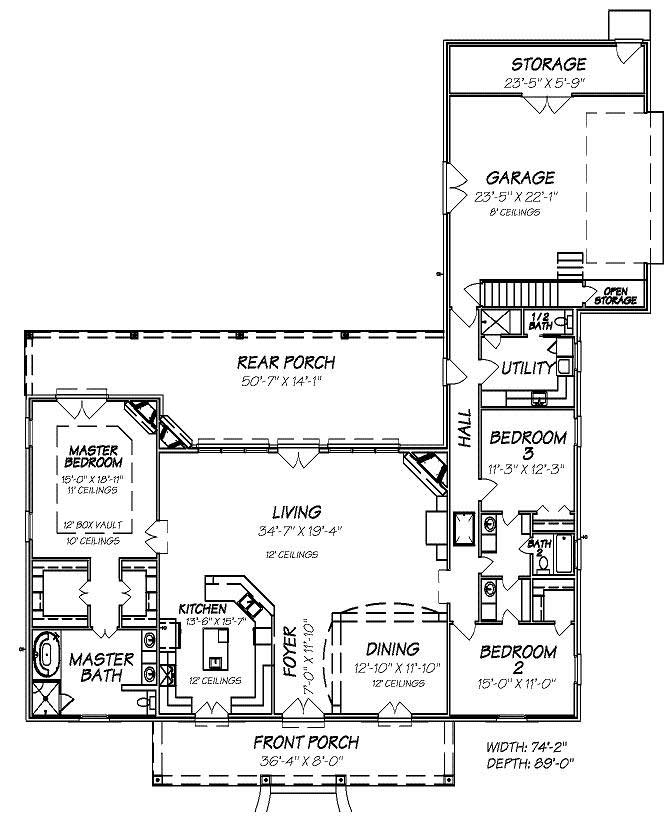 Colonial home plan 3 bedrms 2 5 baths 2480 sq ft for 1050 sq ft floor plans