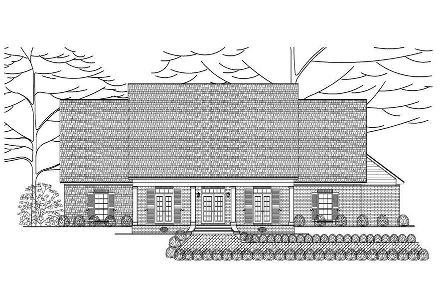 This is a front elevation of these traditional house plans.