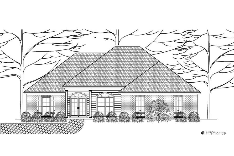 This is the front elevation for Home Plans HPD-B2014