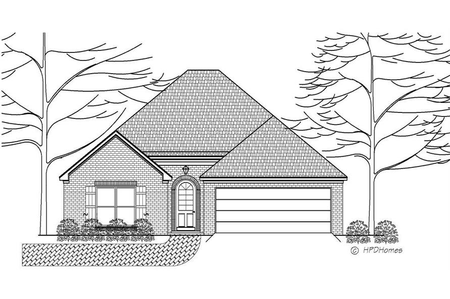 Here is a black and white front elevation for these Traditional House Plans.