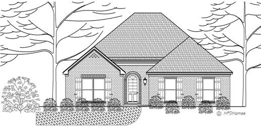 This is a black and white front elevation of these Traditional Homeplans.