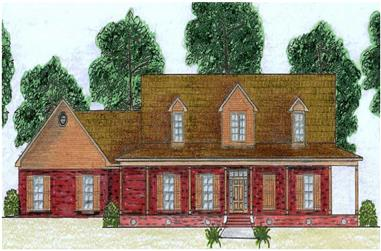 This is a colored rendering of these Country Home Plans.