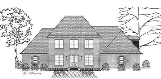 This is a front elevation image of these House Plans.